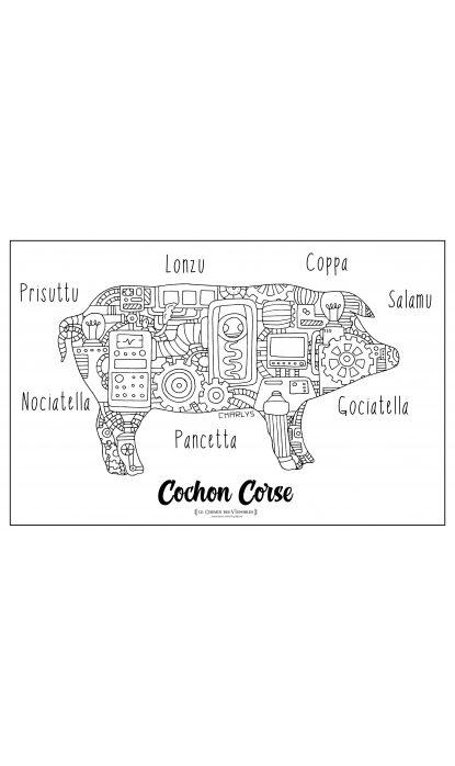 LITHOGRAPHIE COCHON CORSE